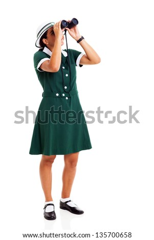 female middle school student looking up using binoculars over white background