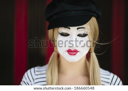 Female Mime on red background  Happy Mime Makeup