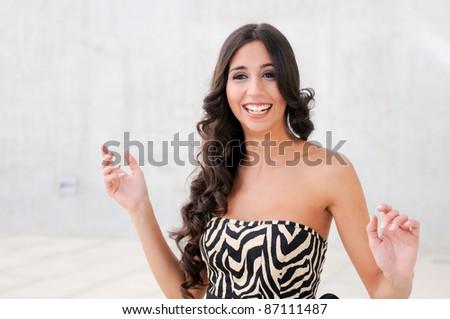 Female model at fashion smiling - stock photo