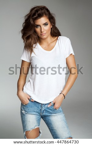 Female model isolated on grey background