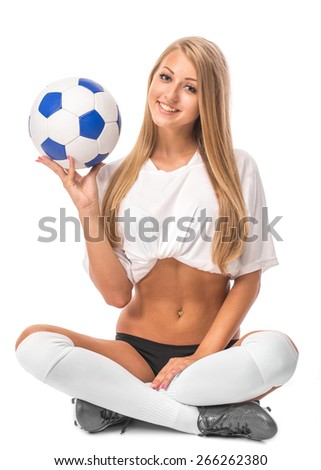 Female model. Soccer. Isolated on the white background. - stock photo