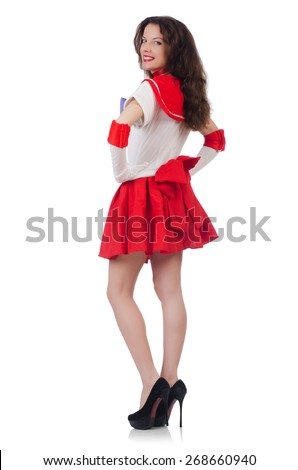 Female model wearing red dress isolated on white - stock photo