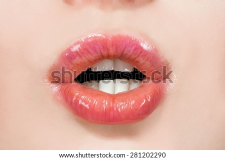 Female mouth close up (detail person), lips, tongue, teeth - stock photo