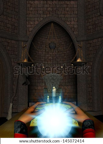 Female mystic sitting looking into a glowing crystal ball. - stock photo