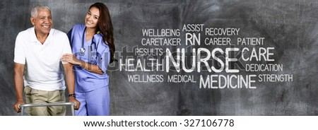 Female nurse ready to give medical attention - stock photo