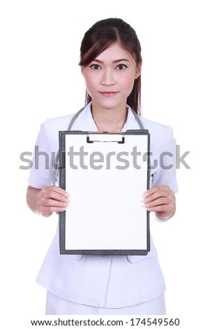 female nurse with clipboard blank fortext isolated on white background - stock photo