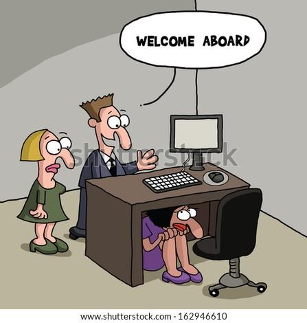 Female office worker cartoon gag - stock photo