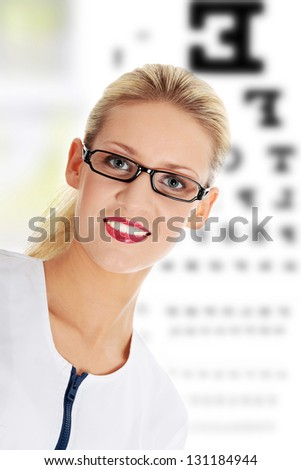 Female ophthalmologist, isolated on white - stock photo