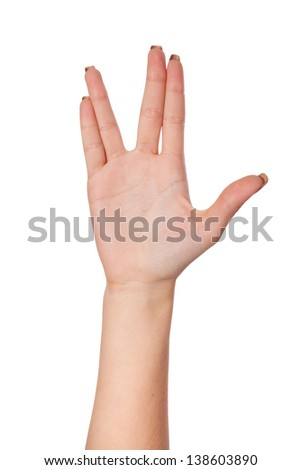 Female palm hand vulcan gesture, isolated on a white background - stock photo