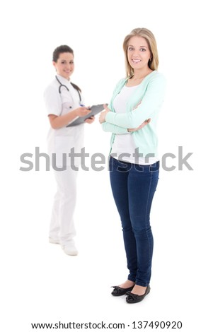 female patient and doctor with folder isolated over white background - stock photo