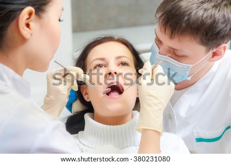 Female patient with open mouth