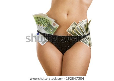 Female perfect sexy body with dollar and euro banknotes (isolated on white background) - stock photo