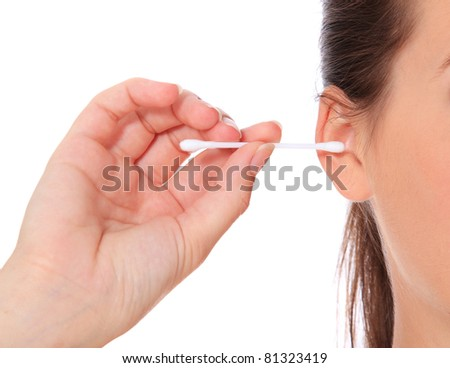 Female person using cotton stick. All on white background. - stock photo