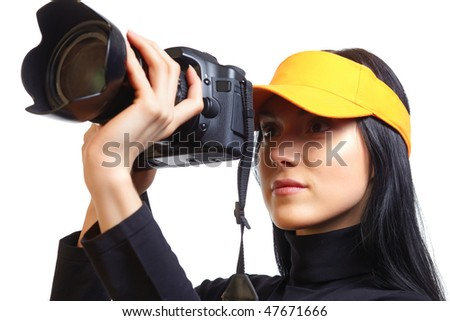 Female Photographer Shooting You - stock photo