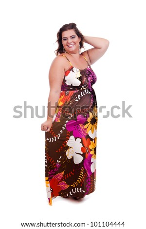Female Plus size model posing in the studio, full body portrait, on white background. The woman is smiling and sensual. Good for concept of health, happiness, dieting, obesity, weight loss. - stock photo