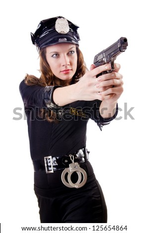 Female police isolated on the white
