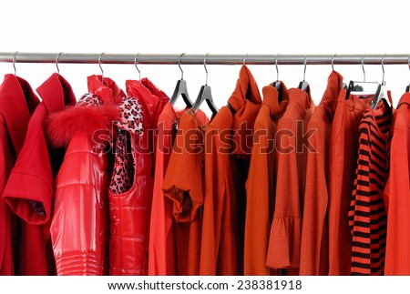 female red clothing with coat on display  - stock photo