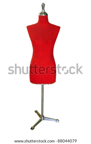 female red mannequin isolated on white - stock photo