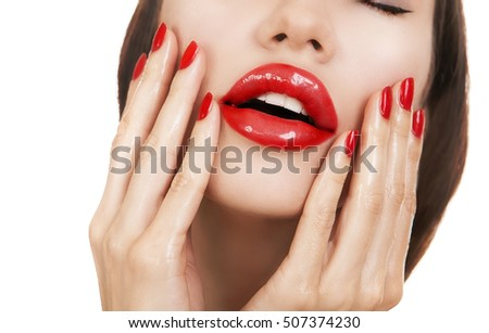Female Red Sexy Lips - Young Beautiful Girl with Red Nails, gloss lipstick and manicure. Women's Glamour portrait, sensual bright Make-up, nail care. Hot sensual women Lips closeup on White background