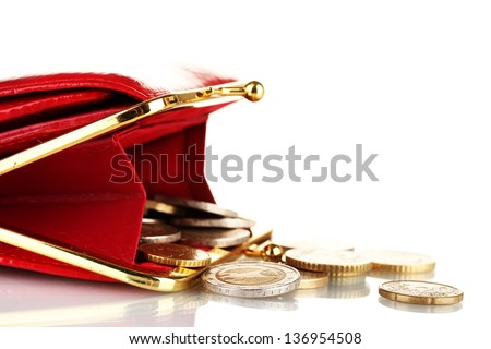 female red wallet with coins isolated on white - stock photo