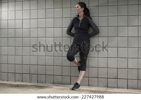 Female Relaxing after a Workout - stock photo