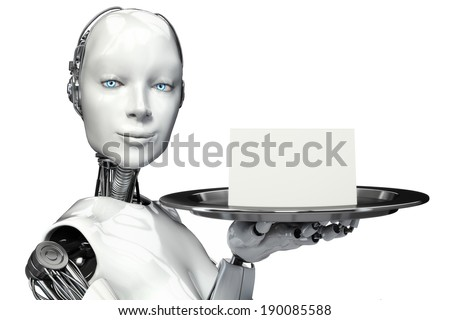 Female robot holding a serving tray with a blank card advertisement with room for text or copy space - stock photo