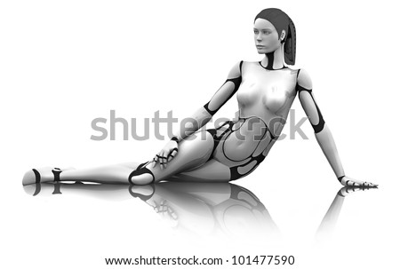Female Robot Lounging on reflective floor - stock photo