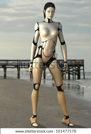 Female Robot on the beach - stock photo