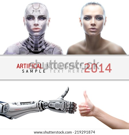 Female robot portraits. Cyber prototype with real girl. Artifical arms with thumbs up - stock photo
