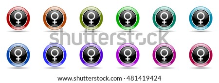 female round glossy colorful web icon set