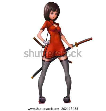 Female Samurai - Character Design - stock photo