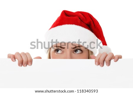 Female santa holding a christmas white card with a space for your message - isolated on a white background