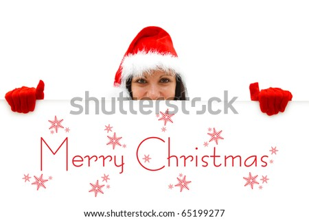 Female Santa with red hat and gloves over a white billboard, Merry Christmas is written on it