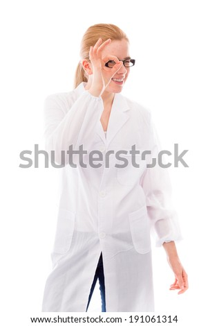 Female scientist looking through finger's hole