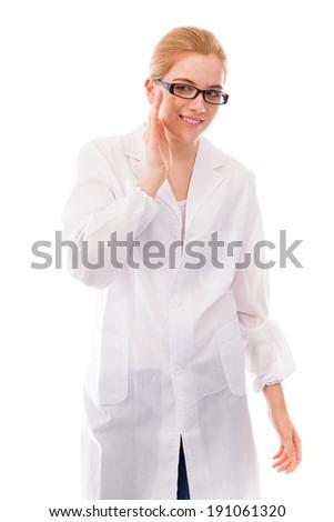 Female scientist smiling - stock photo