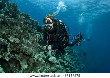 female scuba diver enjoys a great scuba dive in red sea - stock photo