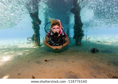 Female SCUBA diver underneath a jetty surrounded by a shoal of f