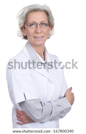 Female senior doctor with crossed arms isolated on white