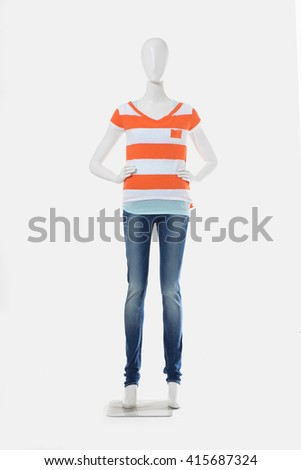 female shirt in jeans on full mannequin isolated  - stock photo