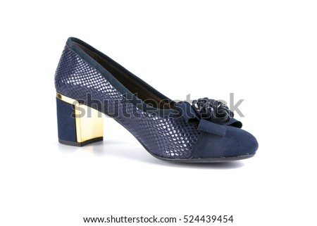 Female shoe in blue leather on white background.top view