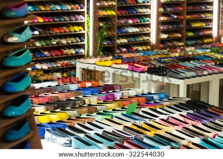 Female shoes  at  apparel shop - stock photo