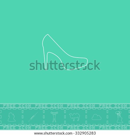 Female shoes. White outline flat icon and bonus symbol. Simple illustration pictogram on green background