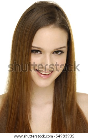 female shoulder with beautiful long hair - stock photo