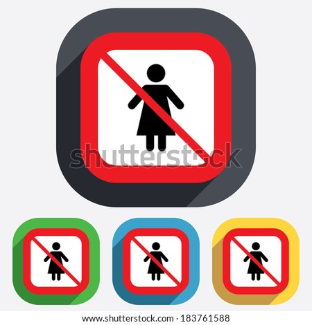 Female sign icon. Woman human symbol. Women toilet. Red square prohibition sign. Stop flat symbol. - stock photo