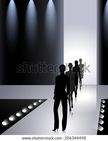 Female silhouettes on the fashion runway