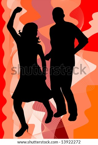 female singer with man on black-white rings background  illustration