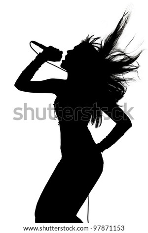 Female singing silhouette