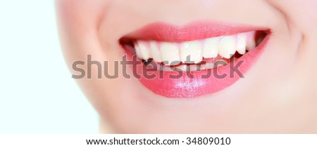 female smile over white