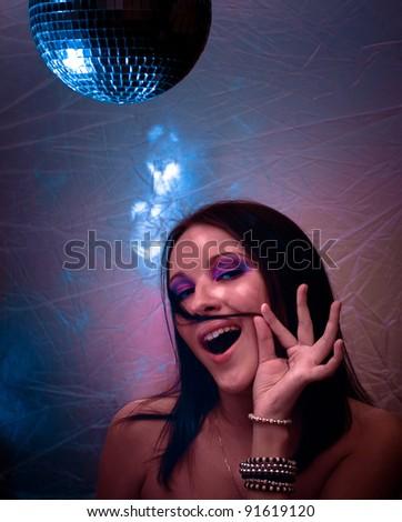 Female Smiling Disco - stock photo