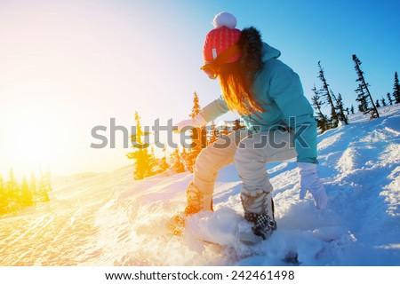 female snowboarder - stock photo